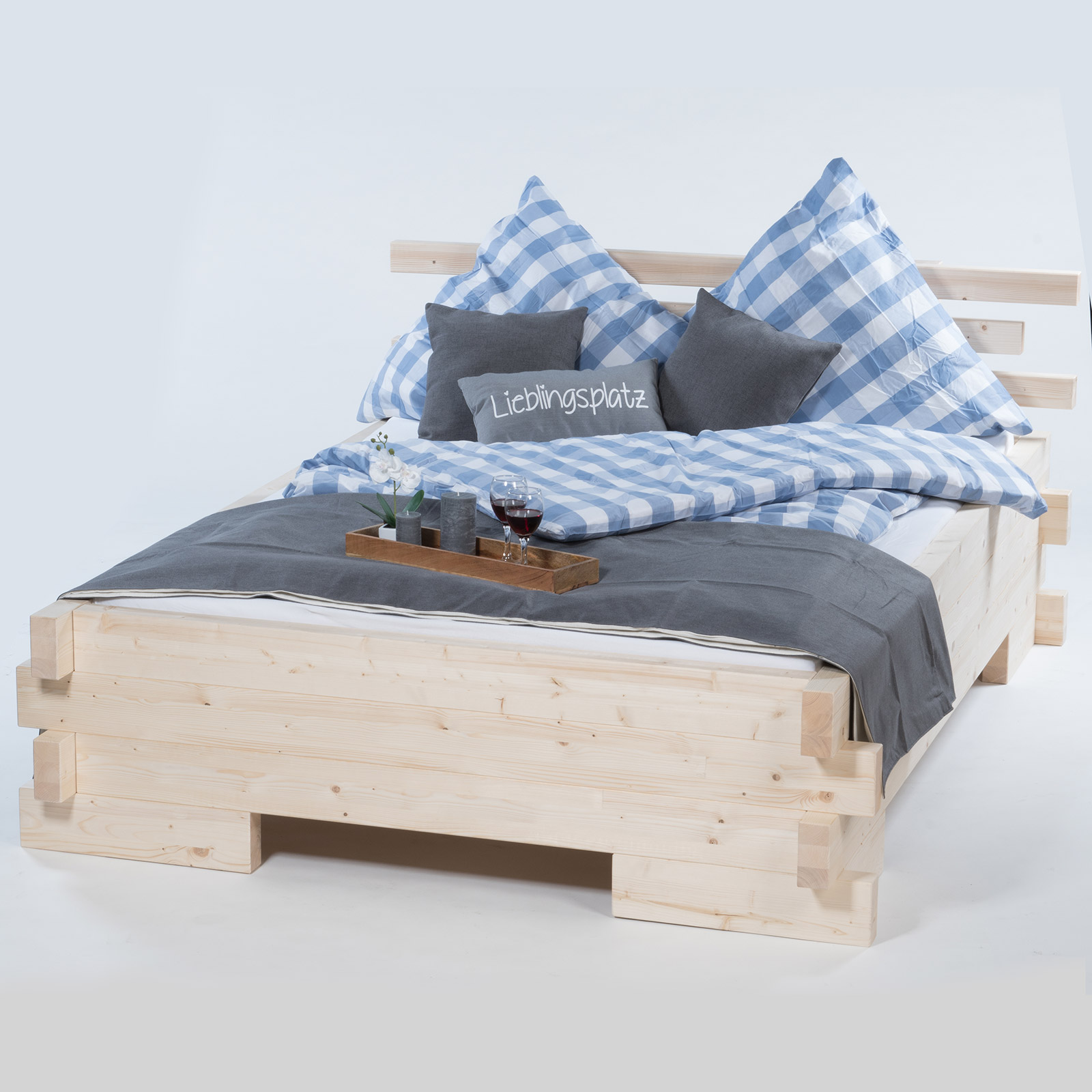 balkenbett massivholzbett daybett boxspringbett 90 120 140 160 180 200 x 200 220 ebay. Black Bedroom Furniture Sets. Home Design Ideas